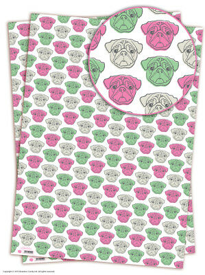 Brainbox Candy Pug wrapping paper sheets gift wrap dog birthday quirky funny