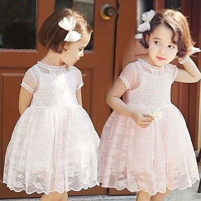 Girls Short Sleeve Lace Wedding Christening Party Kids Occasion autumn Dress
