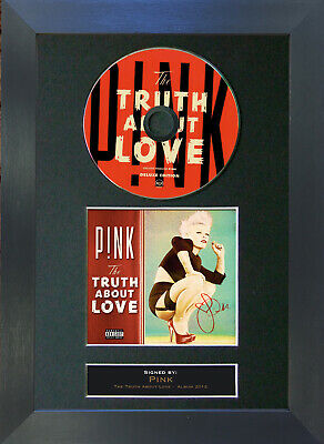 PINK Truth About Love Signed CD Mounted Autograph Photo Prints A4 10