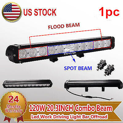 20'' CREE 120W Led Light Bar Spot Flood Combo Work Driving ATV Jeep Offroad