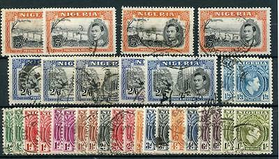 Nigeria 1938-51 Complete for all perfs & shades 31 stamps FU SG49/59c cat £155
