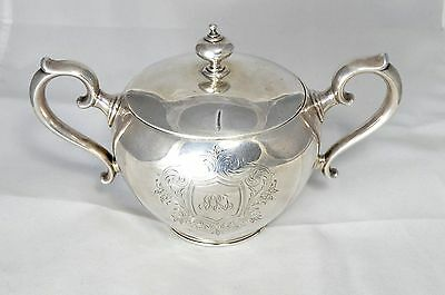 ANTIQUE TIFFANY & CO MAKERS 925 STERLING SILVER HANDLED SUGAR BOWL w/ Lid