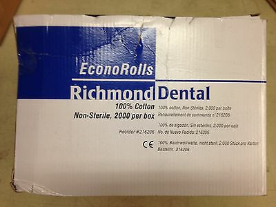 Richmond Dental EconoRolls # 216206 Economy Cotton Rolls Medium Box of 2000