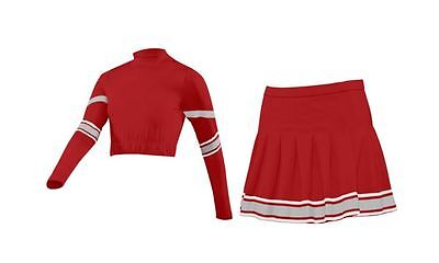 Red & Silver Crop Top and Pleated Cheer Skirt Uniform Various Sizes