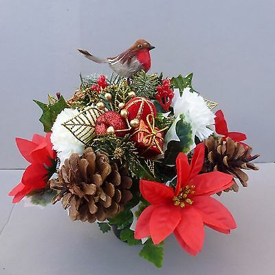 Christmas Decoration With Robin In Pot For Grave/Memorial Vase/ Ch-02