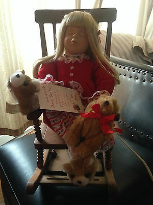 "telco animated motion-ettes ""Waiting for santa"" girl in rocking chair"