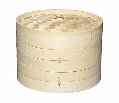 Kitchen Craft World of Flavours Oriental Two Tier Bamboo Steamer and Lid, 20 cm