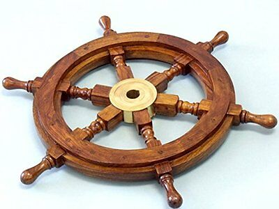Nautical Maritime Wood Brass Ship Steering Wheel Home Decor Gift Boat Captain 15