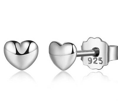 Petite heart stud earrings genuine sterling silver 925