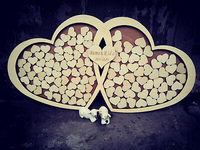 Personalised Wedding Guest Book Alternative Sign-in Wooden Hearts Drop Box