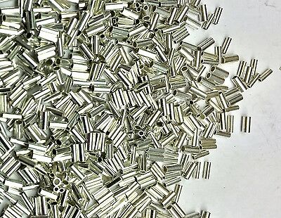 50 Lot Sterling Liquid Silver Crimp Heishi Tube/Cylinder Spacer Beads 1 x 2.25mm