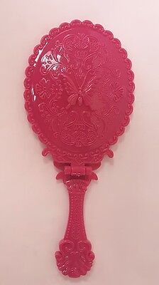 Vintage Antique Style Hand Held Mirror Beauty Cosmetic Makeup  Print Red