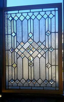 Antique Stained And Beveled Glass Window - Door Panel