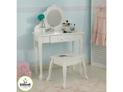 Kidkraft Medium Vanity & Stool Beautiful Girls Wooden Dressing Table Bnib