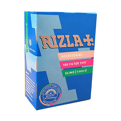 RIZLA SLIM (6mm) CIGARETTE ROLLING FILTER TIPS 8packs X 150