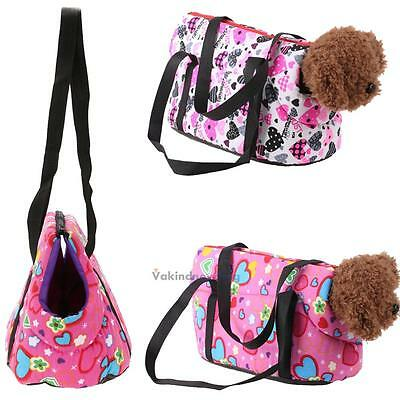 Pet Carrier Canvas Handbag Travel Carrying Shoulder Bag for Dogs and Cats Pink