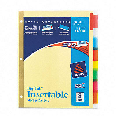 New Avery Big Tab Insertable Dividers Buff Paper 8 Multicolor