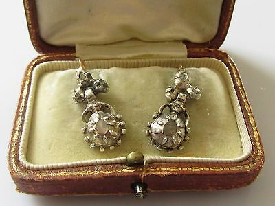 Antique Victorian Rose Cut Diamond Drop Dangle (Gold Wires & Back) Earrings.