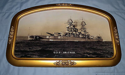 USS Arizona Battleship Reproduction Photograph Mounted in Antique Arched Frame