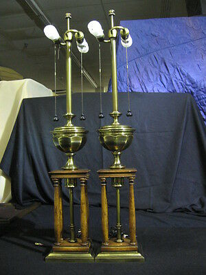"""Pair of 1960's Stiffel Wood & Antique Brass Table Lamps 38"""""""