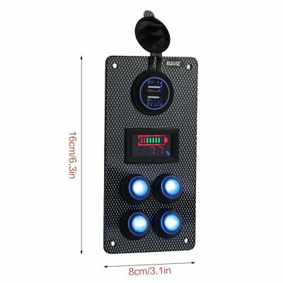 Boat Marine Car On-Off LED Rocker Switch Panel Dual USB Charger Voltmeter Gauge