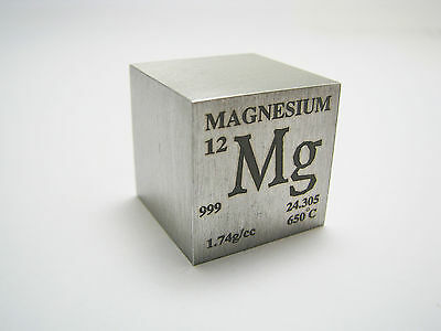 1 inch 25.4 mm Pure Magnesium metal element cube 99.9% pure 28 grams - coated !