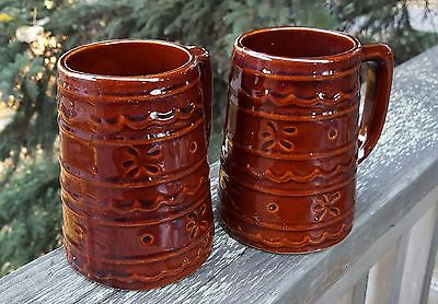 Two Vintage Daisy Dot  Marcrest pottery mugs steins Ships Free in USA