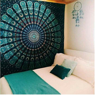 Indian Mandala Tapestry Hippie Wall Hanging peacock Bohemian Bedspread Decor