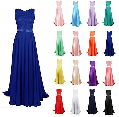 Long Chiffon Lace Bridesmaid Evening Formal Party Ball Gown Prom Dress Size 6-18