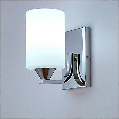 Modern Silver Chrome White Glass Indoor Wall Light Lamp Lights Fittings bedroom