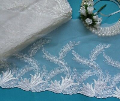 """7-3/4"""" Wedding Bridal White Embroidered Leaves Net Lace Trims-Per Yard-T812"""
