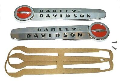 Harley EMBLEMS for Gas Tanks with GASKETS & SCREWS 1947 - 1950 Knuckle UL Pan 45