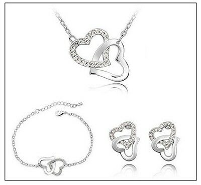 Crystal Silver Hearts Bridal Jewellery Set Earrings Necklace and Bracelet.