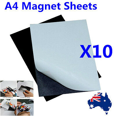 10X A4 Magnetic Magnet Sheets Self Adhesive 1.0mm Thickness Crafts Material AU