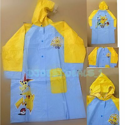 Lovely cartoon Pikachu Pokemon PVC Children girl boy raincoat S-6 M-8 L-10 XL-12