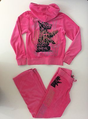 Juicy Couture Girls Velour Tracksuit, Size Age 8, Pink, Good Condition