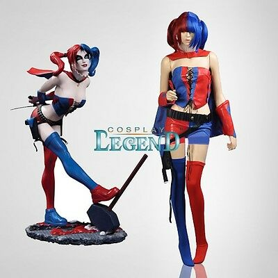 DC Comic -- New 52 - Harley Quinn Blue and Red Cosplay Costume Version 01