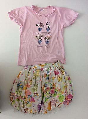 Oilily Girls Outfit, Size Age 10, 140cm, Skirt And Top, Pink & White, Vgc