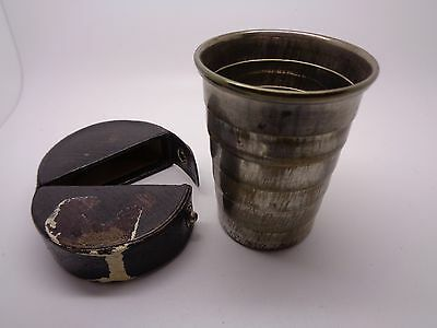 Antique Telescopic Travel Cup With Original Leather Fitted Pocket Case
