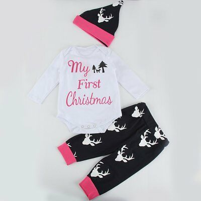 3PCS Newborn Kid Baby Boy Girls First Christmas Romper Pants Hat Outfit Clothes