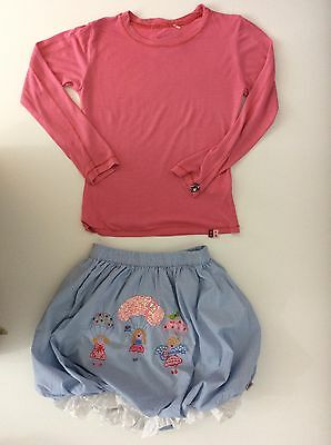 Oilily Girls Outfit, Age 8-10, 128, Pink, Blue Skirt & Top Gc