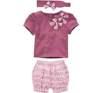 Girls 3 Piece Purple Floral Shorts and Headband Set. FREE shipping within the UK