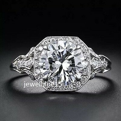 Luxury 3.ct Moissanite Antique art Engagement Round Cut 925 Starling silver Ring
