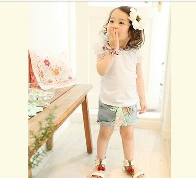 Girls Frill Top and Denim Shorts Outfit. FREE shipping within the UK!