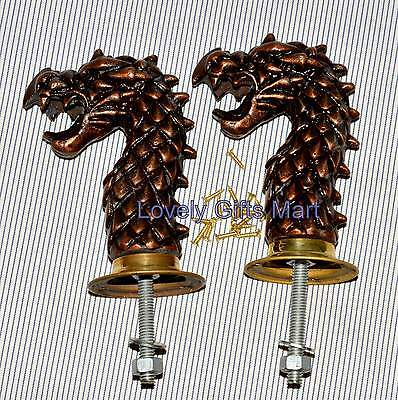 Pair Brass Art Dragon Door Pull Handles Knobs Plates