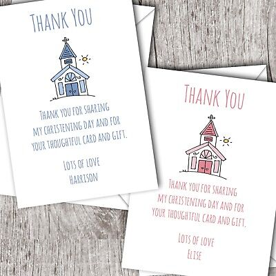 Personalised Christening/Baptism Thank You Cards • Girl/Boy (Church)