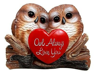 "5.25"" Tall Owl Couple Always Love You Valentine Heart Decorative Figurine"