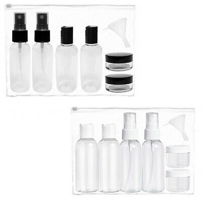 Clear Travel Bottles Plastic Toiletry Set Pump Spray Hand Luggage Liquid Shampoo