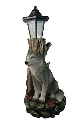 "17"" Height Spirit Wolf Outdoor Solar Lantern Statue Garden Path Light Figurine"