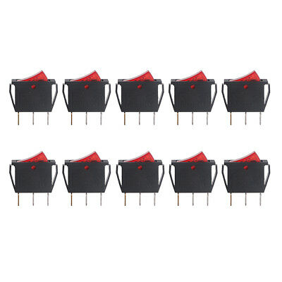 10pcs Red Light SPST ON/OFF Snap in Boat Rocker Switch 3Pin 15A/250V 20A/125V AC